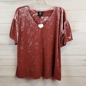 NWT Bobeau pink velvet bell sleeve top size L